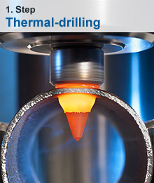 Thermal-drilling as first step to stable threaded bushing