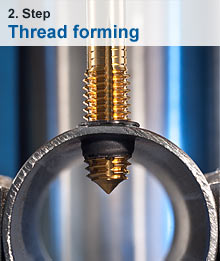 Thread forming as second step to stable threaded bushing